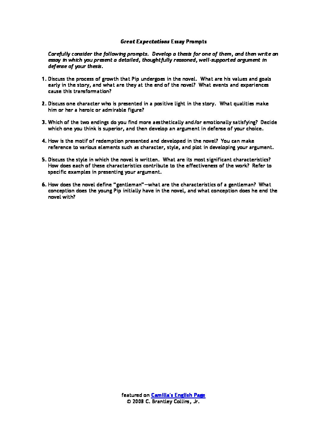 How To Write A Good English Essay Greatexpectationsessaypromptspdfjpg  1984 Essay Thesis also Essay About Healthy Eating Index Of Wpcontentuploadsliteraturenovelsandnovellas Thesis Statement For Essay